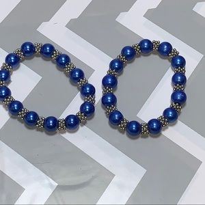"""2 pc Blue and """"silver"""" coloured beaded bracelets"""